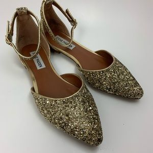 Steve Madden Glitter Sparkly Pointed Toe Flats 7
